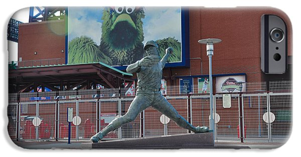 Citizens Bank Park iPhone Cases - Phillies Steve Carlton Statue iPhone Case by Bill Cannon