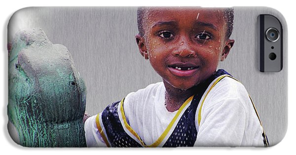 Missing Child iPhone Cases - Philly Fountain Kid iPhone Case by Brian Wallace