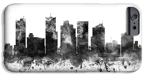 Extinct And Mythical Drawings iPhone Cases - Phoenix Arizona Cityscape 02BW iPhone Case by Aged Pixel