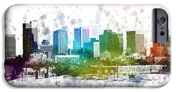City Scape iPhone Cases - Phoenix Arizona in Color 02 iPhone Case by Aged Pixel