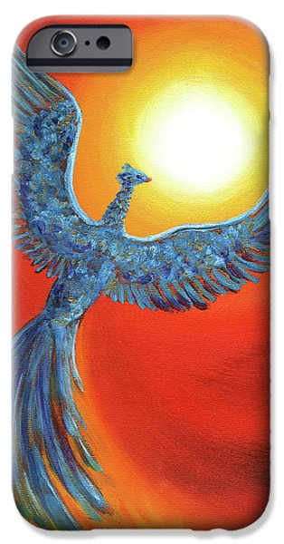 Creature Paintings iPhone Cases - Phoenix Rising iPhone Case by Laura Iverson