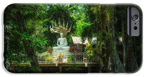 Michelle iPhone Cases - Phra Naga Prok at Wat Hin Laad iPhone Case by Michelle Meenawong