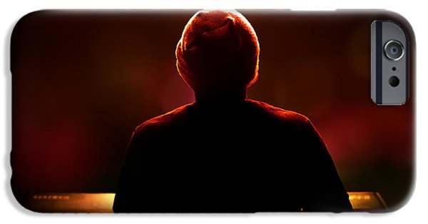 Selective Focus iPhone Cases - Pianist on stage from behind iPhone Case by Johan Swanepoel