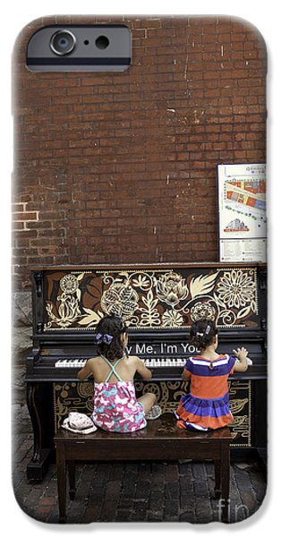 Piano iPhone Cases - Piano Concert by two little girls iPhone Case by Bert Hoferichter