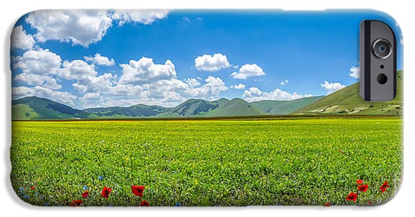 Piano iPhone Cases - Piano Grande mountain plateau, Umbria, Italy iPhone Case by JR Photography