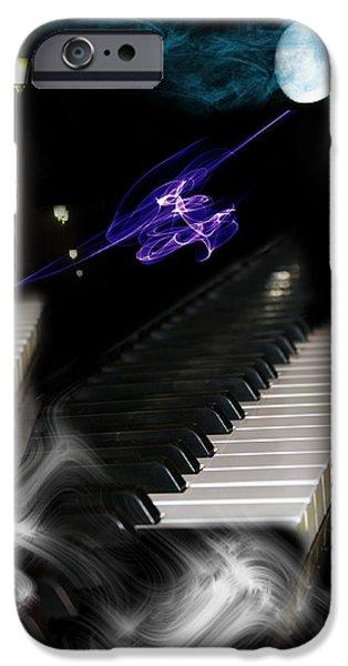 Piano iPhone Cases - Piano Song At Midnight iPhone Case by Angel Jesus De la Fuente