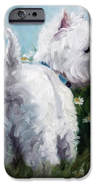 Recently Sold -  - Puppies iPhone Cases - Picking Daisies iPhone Case by Mary Sparrow