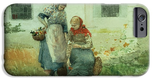 Apron iPhone Cases - Picking Flowers iPhone Case by Winslow Homer