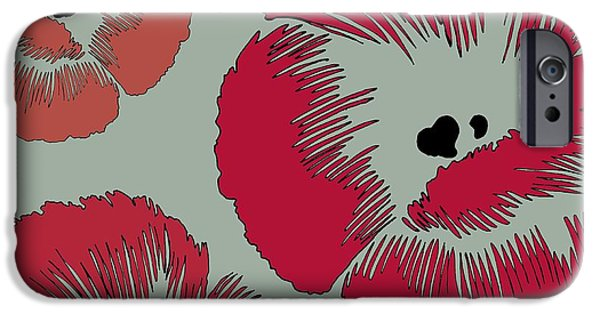 Graphic Design iPhone Cases - Picnic Poppy iPhone Case by Sarah Hough