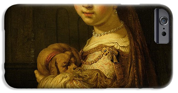 Cute Puppy iPhone Cases - Picture of a Young Girl iPhone Case by Govaert Flinck