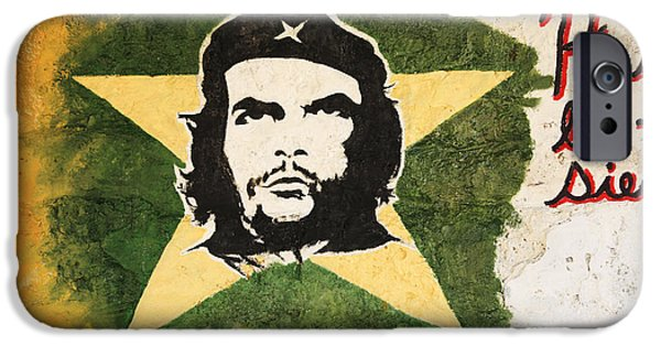Politician iPhone Cases - Picture of Che Guevara on a wall iPhone Case by Deborah Benbrook