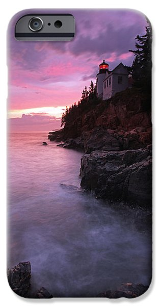 New England Lighthouse iPhone Cases - Picturesque New England Bass Harbor Lighthouse iPhone Case by Juergen Roth