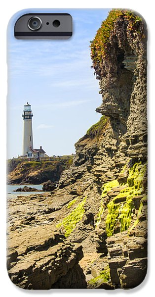 Alga iPhone Cases - Pidgeon Point Lighthouse iPhone Case by Bryant Coffey