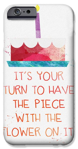 Celebration Mixed Media iPhone Cases - Piece of Cake- card iPhone Case by Linda Woods