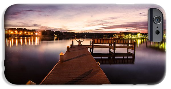 Boat Tapestries - Textiles iPhone Cases - Pier at Night iPhone Case by James Hennis