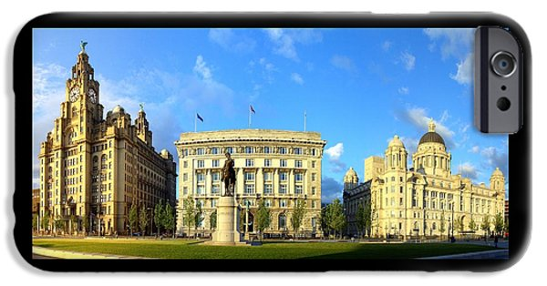 Beatles iPhone Cases - Pier Head Liverpool Panorama 1 iPhone Case by Steve Kearns