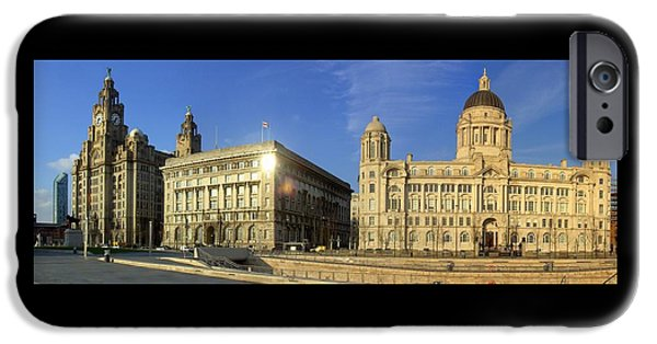 Beatles iPhone Cases - Pier Head Liverpool Panorama 2 iPhone Case by Steve Kearns