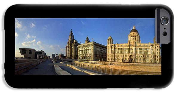 Beatles iPhone Cases - Pier Head Liverpool Panorama 3 iPhone Case by Steve Kearns