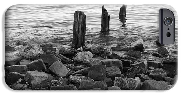 Hudson River iPhone Cases - Pier Pillars Black and White iPhone Case by Shirley K H