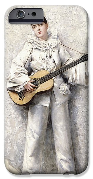 Guitar Paintings iPhone Cases - Pierrot iPhone Case by Leon Francois Comerre