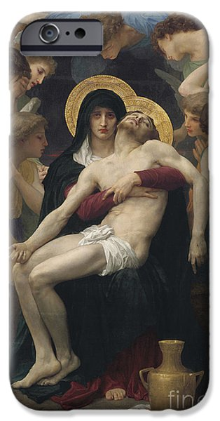 Sadness iPhone Cases - Pieta iPhone Case by William-Adolphe Bouguereau