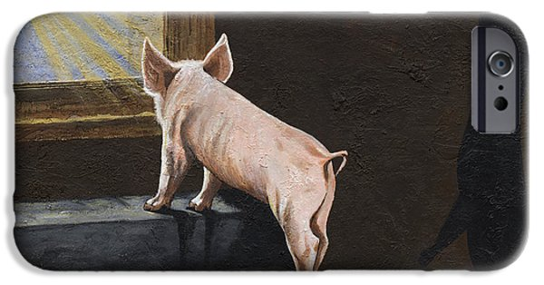 Advocacy iPhone Cases - Pig Shadow iPhone Case by Twyla Francois
