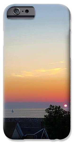 Sailboat Ocean iPhone Cases - Pigeon Cove Sunrise iPhone Case by Harriet Harding