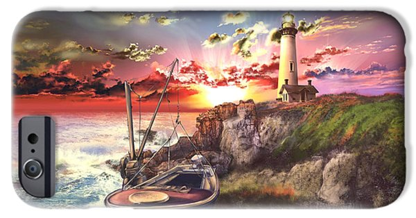 Ocean Sunset iPhone Cases - Pigeon Point Lighthouse iPhone Case by MB Art factory