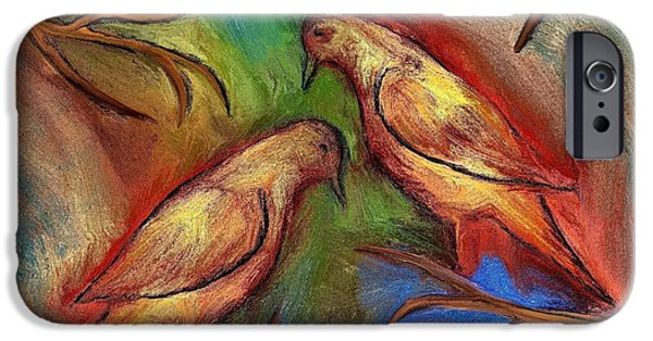 Recently Sold -  - Abstract Digital Drawings iPhone Cases - Pigeons iPhone Case by Rafi Talby