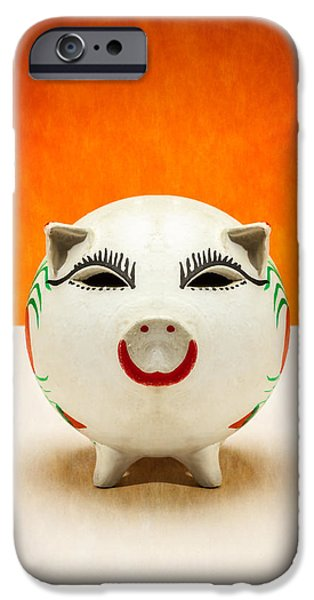 Business iPhone Cases - Piggy Bank Smile iPhone Case by Yo Pedro