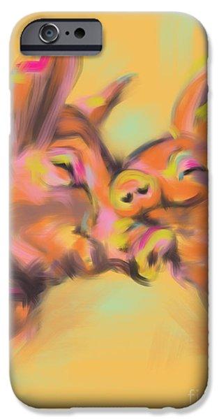 Pig Digital iPhone Cases - Piggy love iPhone Case by Go Van Kampen