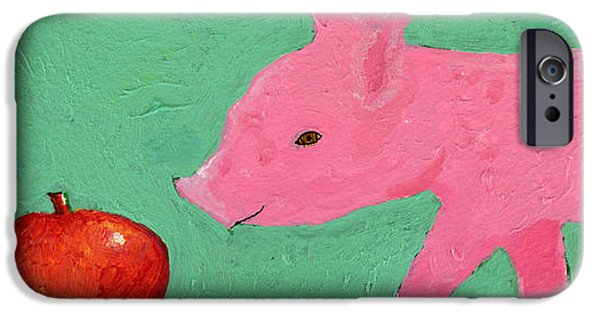 Agriculture iPhone Cases - Piglets First Apple iPhone Case by Nancy Peele