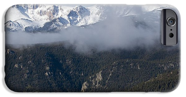 Raining iPhone Cases - Pikes Peak as Storm Clouds and Fog Roll In  iPhone Case by Steve Krull