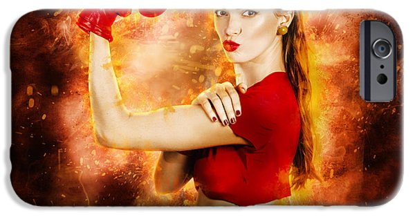 Resilience iPhone Cases - Pin up boxing girl  iPhone Case by Ryan Jorgensen