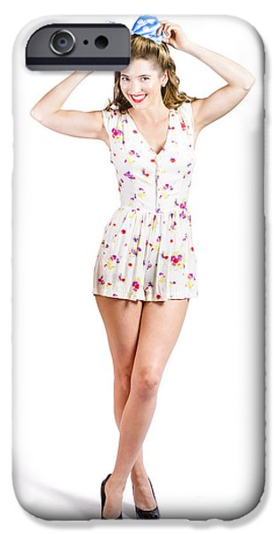 Youthful iPhone Cases - Pin-up lady playing with hairstyle accessory iPhone Case by Ryan Jorgensen