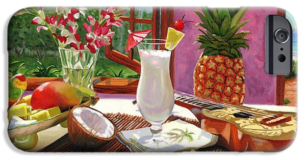 Tropical Paintings iPhone Cases - Pina Colada iPhone Case by Steve Simon