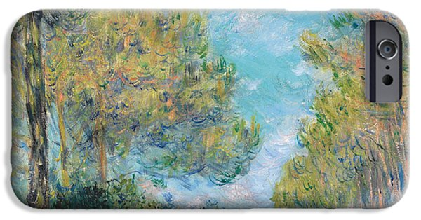 Alley Paintings iPhone Cases - Pine Tree Path at Varengeville iPhone Case by Claude Monet