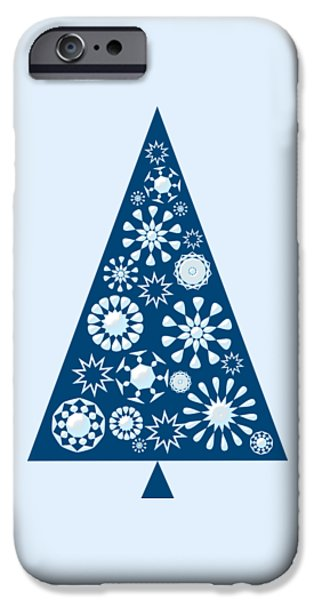 Snow iPhone Cases - Pine Tree Snowflakes - Blue iPhone Case by Anastasiya Malakhova