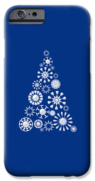 Snow iPhone Cases - Pine Tree Snowflakes - Dark Blue iPhone Case by Anastasiya Malakhova