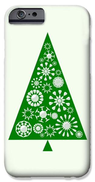 Spirits iPhone Cases - Pine Tree Snowflakes - Green iPhone Case by Anastasiya Malakhova