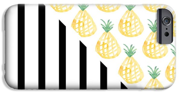 Stripes iPhone Cases - Pineapples and Stripes iPhone Case by Linda Woods