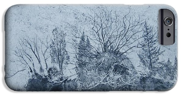Landscapes Drawings iPhone Cases - Pinetum  Cammo iPhone Case by Calum McClure