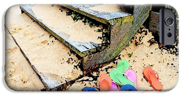 Micdesigns iPhone Cases - Pink and Blue Flip Flops by the Steps iPhone Case by Michael Thomas