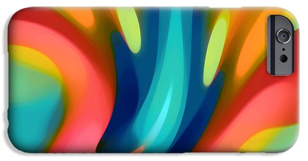 Abstract Forms iPhone Cases - Pink and Blue Lily Horizontal iPhone Case by Amy Vangsgard