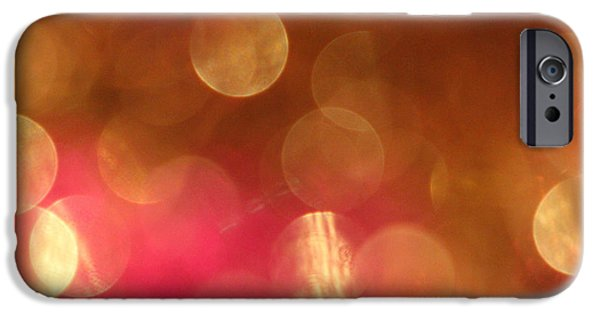 Bokeh iPhone Cases - Pink and Gold Shimmer- Abstract Photography iPhone Case by Linda Woods