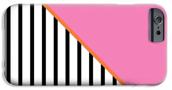 Stripes Digital Art iPhone Cases - Pink and Orange and Black Geometric iPhone Case by Linda Woods