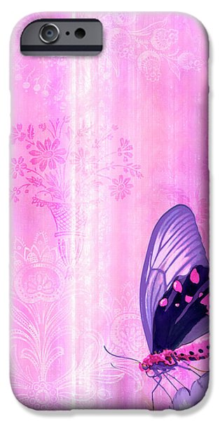 Quilt iPhone Cases - Pink and Purple Butterfly Companions 2 iPhone Case by JQ Licensing
