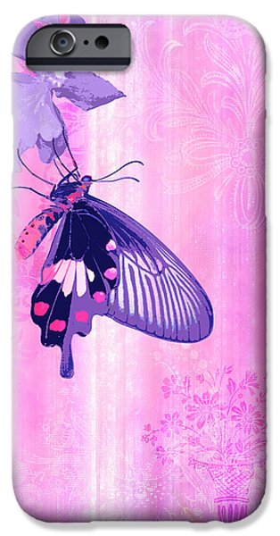 Fabric iPhone Cases - Pink and Purple Companions 1 iPhone Case by JQ Licensing