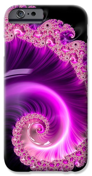Contemporary Abstract iPhone Cases - Pink and purple spiral black background iPhone Case by Matthias Hauser