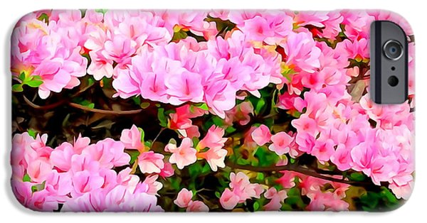Abstract Digital Photographs iPhone Cases - Pink Azaleas iPhone Case by Ed Weidman